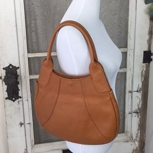 Vintage Camel Color Hobo Style Leather Bag